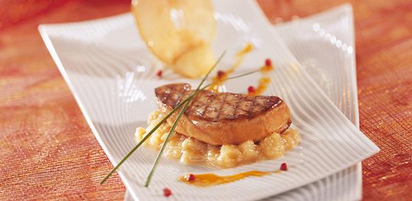 Schnitzel Foie canard poele aux pommes 600x293